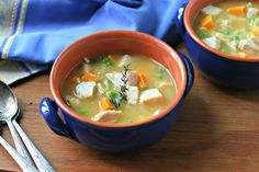 Turkey Soup with Sweet Potatoes and Peas via @EverydayMaven