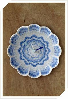 Concentric Flora- Blue - Clocks | Angus and Celeste