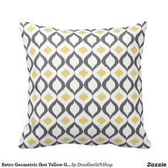 Shop Retro Geometric Ikat Yellow Grey Pattern Cushion created by DoodlesGiftShop. Textile Texture, Grey Pattern, Reception Rooms, Throw Cushions, Ikat, Geometric Shapes, Textiles, Retro, Yellow