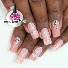 Ana Paula Villar Great Nails, Fabulous Nails, Perfect Nails, Love Nails, J Nails, Coral Nails, Bride Nails, Wedding Nails, Ballerina Nails