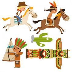 sticker enfant : frise cowboy et indien à cheval