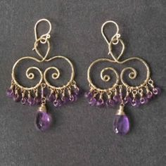 Hammered swirl shapes with amethyst, about 1-1/2 long    Available in 14k gold filled & sterling silver, 14k rose gold filled    **We now offer