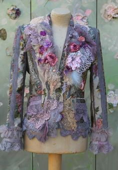Tuileries garden jacket -bohemian romantic , altered couture, embroidered and beaded details,old laces