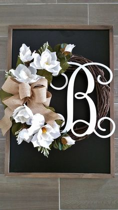 Farmhouse wreath - Home Page Initial Wreath, Grapevine Wreath, Front Door Initial, Front Door Decor, Wreaths For Front Door, Baby Door Wreaths, Mesh Wreaths, Front Porch, Magnolia Wreath
