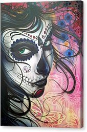 Dia De Los Muertos Chica Canvas Print by Mike Royal