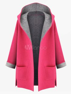 Rose Red Long Hooded Cotton Blend Coat - Save Up to 70% Off on fabulous fashion trend products at Milano with Coupon and Promo Codes.