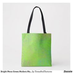 Bright Neon Green Modern Marbled Art Tote Bag #totes #shoppingbag