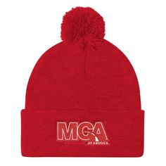 MCA Red Logo Pom Pom Knit Cap