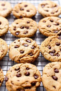 Chewy Vegan Chocolate Chip Cookies - ilovevegan.com #vegan Vegan Chocolate Chip Cookie Recipe, Chocolate Cookies, Vegan Foods, Vegan Desserts, Vegan Sweets, Delicious Vegan Recipes, Snack Recipes, Healthy Recipes, Snacks