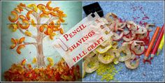 De tout et de rien: Activités pour le Préscolaire: Pencil shavings fall craft - Bricolage de retailles de crayon automnal