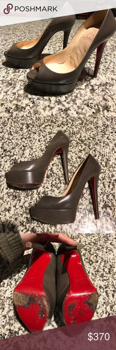 """Christian louboutin platform Bianca, gray leather Authentic Christian Louboutin """"Bianca"""" in gray leather. Platform, sexy peep toe, lots of toe cleavage,platform is 1.2 in, heel is 5 in. Box not included, dustbag included Christian Louboutin Shoes Platforms"""