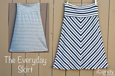 icandy handmade: (tutorial and pattern) Everyday Basics The Everyday skirt tutorial Skirts Sewing Hacks, Sewing Tutorials, Sewing Crafts, Sewing Projects, Sewing Patterns, Sewing Tips, Skirt Patterns, Pattern Skirt, Free Sewing