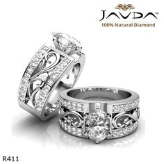 Sidestone Filigree Shank Oval Diamond Engagement Ring 14k White Gold.