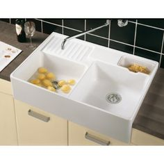 villeroy boch butler 90 x white double bowl belfast ceramic sit on kitchen sink sinks from clc kitchens and bedrooms uk - Double Ceramic Kitchen Sink
