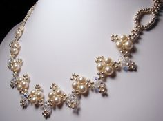 Pearl Brides Necklace Swarovski Crystal Silver Beaded. $125.00, via Etsy.