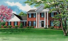 """This 9""""x 15"""" watercolor house portrait depicts a two story traditional home located in Weldon Spring, Missouri and was commissioned by a thoughtful wife as a birthday gift for her husband. If you would like to do the same for your spouse, contact me to get on my portrait schedule. Artwork image © Richelle Flecke Birthday Gifts For Husband, Artwork Images, Watercolor Portraits, Traditional House, Custom Homes, Missouri, Schedule, Mansions, House Styles"""