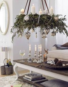 40 Fabulous Christmas Chandelier Ideas to Beautify Your Home Decoration Simple Christmas, Christmas Home, Christmas Holidays, Christmas Wreaths, Christmas Decorations, Xmas, White Christmas, Christmas Chandelier Decor, Christmas Ideas