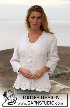 "Ravelry: 106-6 jacket in stocking st and garter st in ""Cotton Viscose"" and ""Alpaca"" pattern by DROPS design"