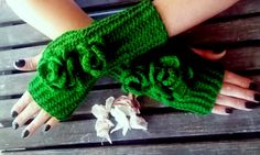Green Knit Glove, Crochet Gloves, Handmade Gloves, Fingerless Gloves, Knitted Gloves, Christmas Gifts, Wool Gloves, Long Knitted Gloves