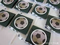 10 Soccer Ball Covered Lollipops, Party Favors, Party Candies, Lollipop Holder, Ball Favor. $9.50, via Etsy.