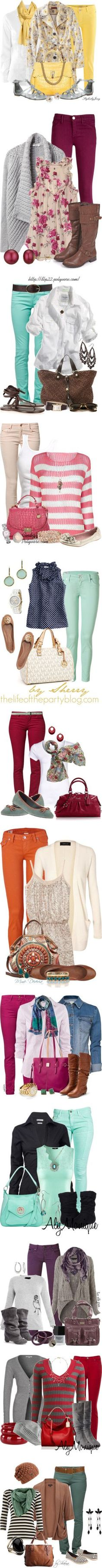 Great ideas for what to wear with colored pants!