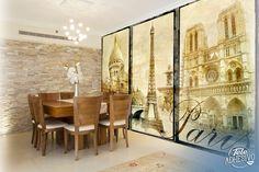 Fotomurales: tríptico gran formato de Paris, con Notre Dame, la torre Eiffel y el Sacre Coeur. #parís #ciudad #decoración #pared #TeleAdhesivo