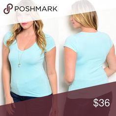 "Perfect Everyday Sky Blue Fitted Tee XL/1X Gorgeous sky blue, perfect for spring! This top is super soft, stretchy, and comfy. You'll want to live in it! Flattering v neck and slight shirttail hem.  Approximate Measurements Bust 21"" Waist 20"" Hem 23"" Length 26""  80% cotton 20% polyester Made in the USA 🇺🇸  ❌ Sorry, no trades. fairlygirly Tops Tees - Short Sleeve"
