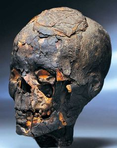 Egyptian Mummy Head from the Ptolemaic Period of Egypt. Circa 332–30 BC.