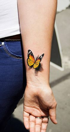Our Website is the greatest collection of tattoos designs and artists. Find Inspirations for your next Tattoo . Search for more Butterfly Tattoo designs. Yellow Butterfly Tattoo, Realistic Butterfly Tattoo, Monarch Butterfly Tattoo, Butterfly Tattoos Images, Butterfly Tattoo Meaning, Butterfly Tattoo Designs, Tattoo Images, Butterfly Design, Butterfly Wrist Tattoo