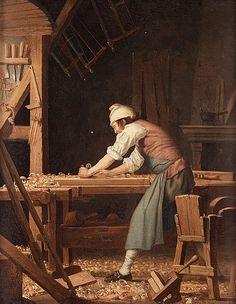 """""""En snickare"""". Uppfodrad duk 61,5 x 48 cm. Otydligt signerad Hilleström och daterad 1794."""