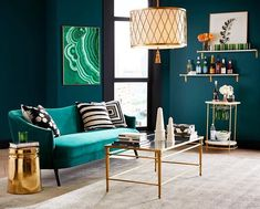No Monday blues when you take a moment for yourself in a room of greens and golds. Home Office Design, Interior Design Living Room, Living Room Designs, Bedroom Wall, Bedroom Decor, Master Bedroom, Geometric Decor, Teal Walls, Colorful Interiors