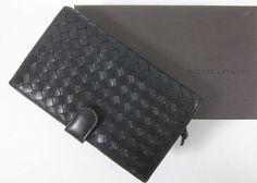 BOTTEGA VENETA Black Leather Woven Bi-Fold Zippered Pocket Wallet IN BOX at www.ShopLindasStuff.com