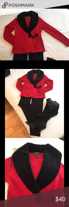 Ralph Lauren Jacket . NWOT Classic and striking soft red jacket in sweatshirt material with black collar detail by Ralph Lauren; never worn, super soft and comfortable. Perfect for day-to-day, or to make a statement during the holidays. Will never go out of style. Perfect with black leggings or pants, boots or heels...dress up or down, wear day or night. NWOT. Lauren Ralph Lauren Tops