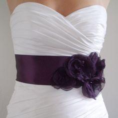 Bridal+Sash+Belt+AUBERGINE++Dark+Eggplant+Purple+by+BridalShoppe,+$89.00