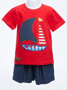 Set Your Sails Appliqued Sailboat Boy's T-shirt and Shorts