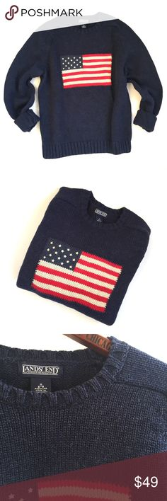 {Land's End} American Flag Patriotic Sweater  classic patriotic sweater  excellent used condition. Pair with white jeans for a perfect summer evening outfit! Lands' End Sweaters Crew & Scoop Necks