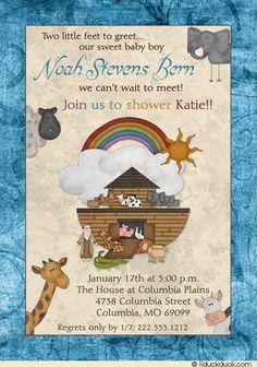 noah's ark baby shower invitations -