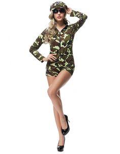 Camo Army Girl Romper Adult Female Halloween Costume