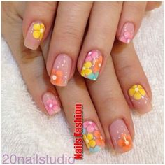 25 Delicate Flower Nail Designs Adding Lovely Blooms To Your Fingertips! nail art 5 minute - Nail Art 25 Delicate Flower Nail Designs Adding Lovely Blooms To Your Fingertips! Nail Design Spring, Spring Nail Art, Spring Nails, Summer Nails, Fancy Nail Art, Fancy Nails, Pretty Nails, Flower Nail Designs, Nail Art Designs