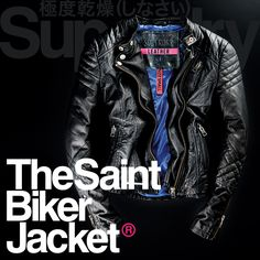 The Saint Biker Jacket with stitched shoulders and popper neck fastener delivers a biker look this season >> www.sdry.co/1wrouBJ #SuperdryAW14 #AW14 #SuperdryProductIsKing