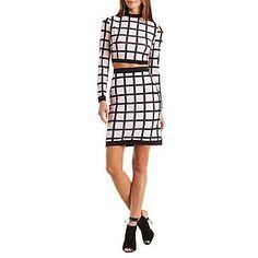 Black Windowpane Print Crop Top & Skirt Two-Piece Set - Size XS