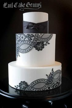 If I go with black bridesmaid dresses, I would love this cake without the ribbon. I'd have to add some color to it with bouquet flowers.