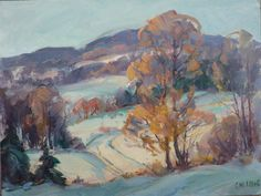 Winter landscape  original painting by Carl W. Illig by peterillig