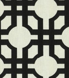 Shop Home Decor Print Fabric-Waverly Groovy Grille Licorice & Print Fabric at Joann.com (border/grommet style) maybe with a yellow border.