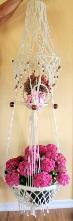 Double white  Macrame Flower Pot  Hanger Porch Decor by CaliforniaPicks on Etsy