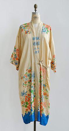 vintage 1920s silk crepe floral kimono robe from Adored Vintage