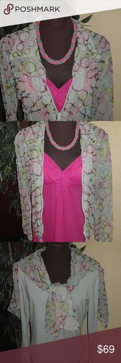 4 PC VERSITALITY Ensemble BUNDLE.  EUC Wow! Pair this Jacket with any pastel, black or white simple tee and you have 7plus Outfits to go for a long weekend trip!. In THIS BUNDLE: Talbots, L/S Mint green Top Avail $28 Hot Pink Ruffled Camisole. Avail $15 Mint Green with Pastel Applique on Mesh Zipper Jacket Avail $36 Adjustable length, Tri-color, Braided, Seed bead Necklace Avail $20  All ITEMS are EUC!! Worn only Once or Twice This Bundle Separately in my Closet $99  BUY BUNDLE & SAVE $30…