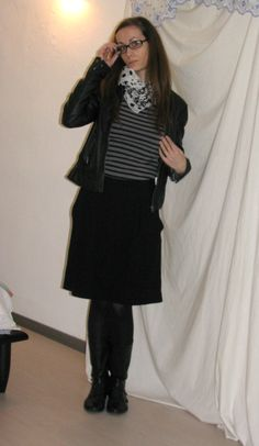leather jacket, striped shirt, skirt, boots