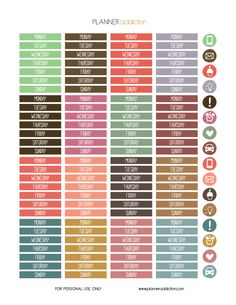 Free Printable Planner Stickers - Day of the week - Erin Condren & Happy Planner