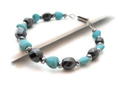 Magnetic Hematite and Turquoise Hearts by talenaztreasurez on Etsy, $10.00
